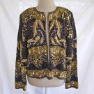 Vintage 70s Trophy Jacket Allover Sequin Beads Pearls Gold Deadstock XL Nagpal