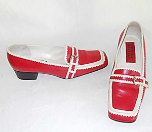 Vintage Christian LaCroix Mocs Loafers Red White Square Toe Block Heel Belted