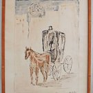 Modernist Vintage Watercolor Painting Petri Italy Horse Drawn Coach Caleche Town
