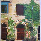 Vintage Original Painting Architectural Country French Villa Folk Large Egor