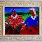 Vintage Original Haitian Painting Alberoi Bazile 2 Friends Harvest Hearts Folk
