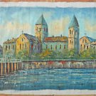 Vintage Painting Gothic Cathedral Monastery River Tiny Figures Footbridge Pinks