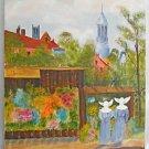 Vintage Original Folk Naive Painting Paris Flower Stand Nuns France Carson