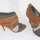 Plenty Tracy Reese Zuri 37.5 Sandal Boots Zipper Leather Canvas Studs Gladiator