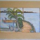 Vintage Folk Painting Tropical Dock Florida Keys  Whale Harbor Islamorada Buny