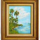 Vintage Florida Folk  Seacape Painting Everglades Highway Herons Birds Davant