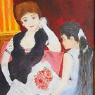 Outsider Art Folk Painting Vintage Courtesan Reading To Young Girl Pappa Joe