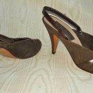 Vintage Sesto Meucci Slingback Peep Criss Cros Toe Shoes 7AA Brown Suede