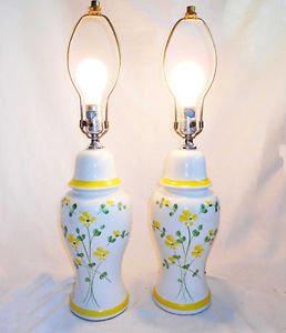 Lamps Vintage Pair Ceramic Pottery White Urn Yellow Wild Flowers Country Rustic