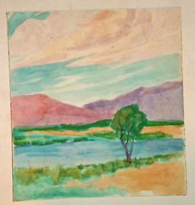 Marco ZIM 30s Original Watercolor San Diego California Landscape Painting WPA