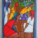 Haitian Painting Vintage Original Folk Art Women with Faces Gossiping Samson