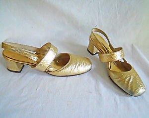 Vintage Sandals Slingbacks Gold Metallic Mary Janes Miss Constance 8 Chunky Heel