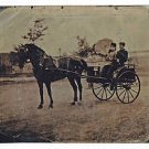Half Plate Tintype Couple Horse Buggy Antique Outdoor Scene Landscape Country