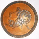 The Greek Runner Vintage Massive Round Copper Shield Hanging Repousse Signed
