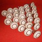 Vintage Lot 25 Round Porcelain Brown Beige Drawer Pull Cabinet Door Flower