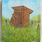 Folk Art Vintage Painting Portrait Privay Broken Outhouse Flower Meadow Jubal