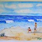 Vintage Watercolor Painting Naive Folk Beach Seascape Boys Ocean Playing Huge