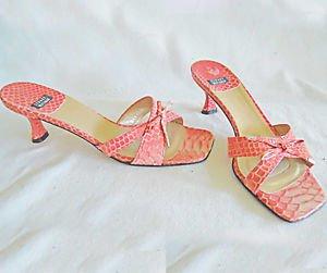 Stuart Weitzman Mules Sandals  Pink Snakeskin Effect Kitten Heel Bow Shoes 7B