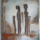 Vintage Painting Shadow Figures  Spooky Silhouette  Mothers Children Grays Swan