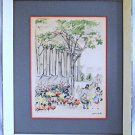 Antique Painting Watercolor Flower Market Pantheon Paris Jami Cotte Vintage