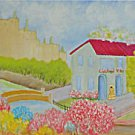 Naive Vintage Painting Olive Kraats Victorian Village Fortified Castle 1962
