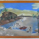 Folk Art Outsider Vintage Naive Painting Seascape Cove Shack Boat Dock Termonix
