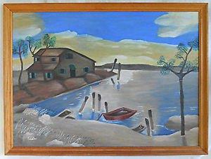 Folk Art Outsider Vintage Naive Painting Seascape Cove Shack Boat Dock Termonix
