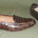 Ferragamo Flats Shoes 7AA Vintage Brown Croc Embossed Leather Loafers Moccasins