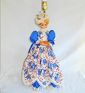 Political Lamp Vintage Victorian Costume Lady Doll Fashion Big Patriotic Dress