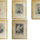 Vintage Framed Collection 5 Antique French Prints GV Paris Costume Theater
