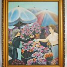 Vintage Mid Century Painting French Flower Market Woman Handing Money Puskadi 63