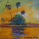 Folk Naive Painting Everglades Hammock Palms Tropical Florida Sotolongo Kelley