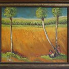 Folk Vintage Painting Dreamy Masonite Seascape Highway Beach Florida Kid Nobler