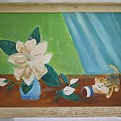 Primitive Folk Naive Vintage Painting Kitten Chasing Ball To Gardenias Kamp