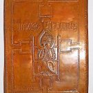 Vintage Modernist Copper Shield Plaque Man Symbol of Matthew Repousse Big Signed
