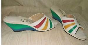 Vintage 60s Wedge Mules Color Block Peep Toe Rainbow Shoes Leather Penaljo 8N