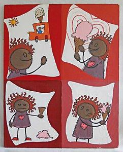Vintage Folk Painting African American Black Kid Storyboard 10 Second Rule Hill