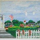 Folk Vintage Painting Victorian House Portait Yachtman Waving US Flag Race Kali