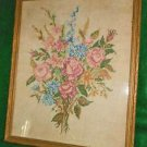 Antique Embroidery Flowers Bouquet Roses Needlework Framed Pinks Blues Muted