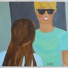 Urban Street Folk Outsider Art Painting Original Cool Dude Charming A Girl Luis