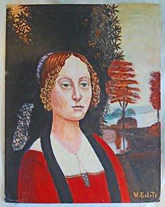 Folk Art  Mona Lisa Outsider Vintage Original Painting  Woman V Galate