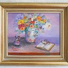 Vermont Vintage Painting Naive Still Life Flowers Book Reading Glasses  Wolk