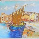 Vintage Painting Folk  Fishing Boat Sailor Jumping Peasant Village Diane 83