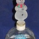 Perfume Bottle Vintage Folky Snow Man Frosted Painted Glass Long  Stopper  Xmas