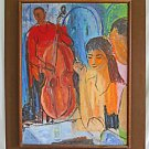 Modernist Vintage 60s Painting Night Club Cool Cats Jazz Music Cello Sandy Huge