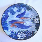 Koi Fish Platter Plate Blue Plate Sun Ceramics Signed Painted Vintage Japan Huge