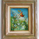 Vintage Folk Painting  Butterflies Flower Field Botanical Country Landscape Rant