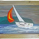 Vintage Painting Marine Sailboat Racing Yacht Storm Harry Newton Massive Framed