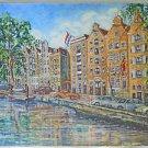 Vintage 70s Painting Amsterdam Prinsengracht Canal Hotel Pulitzer Renault VW Car