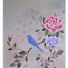 Vintage Painting Blue Bird Perched On Rose Bush Ornithology Floral Regency DLE